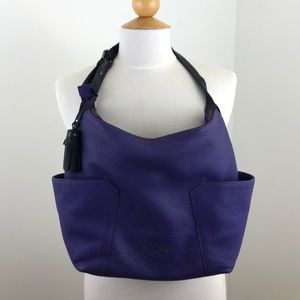 COLE HAAN Purple Leather Zippered Tote